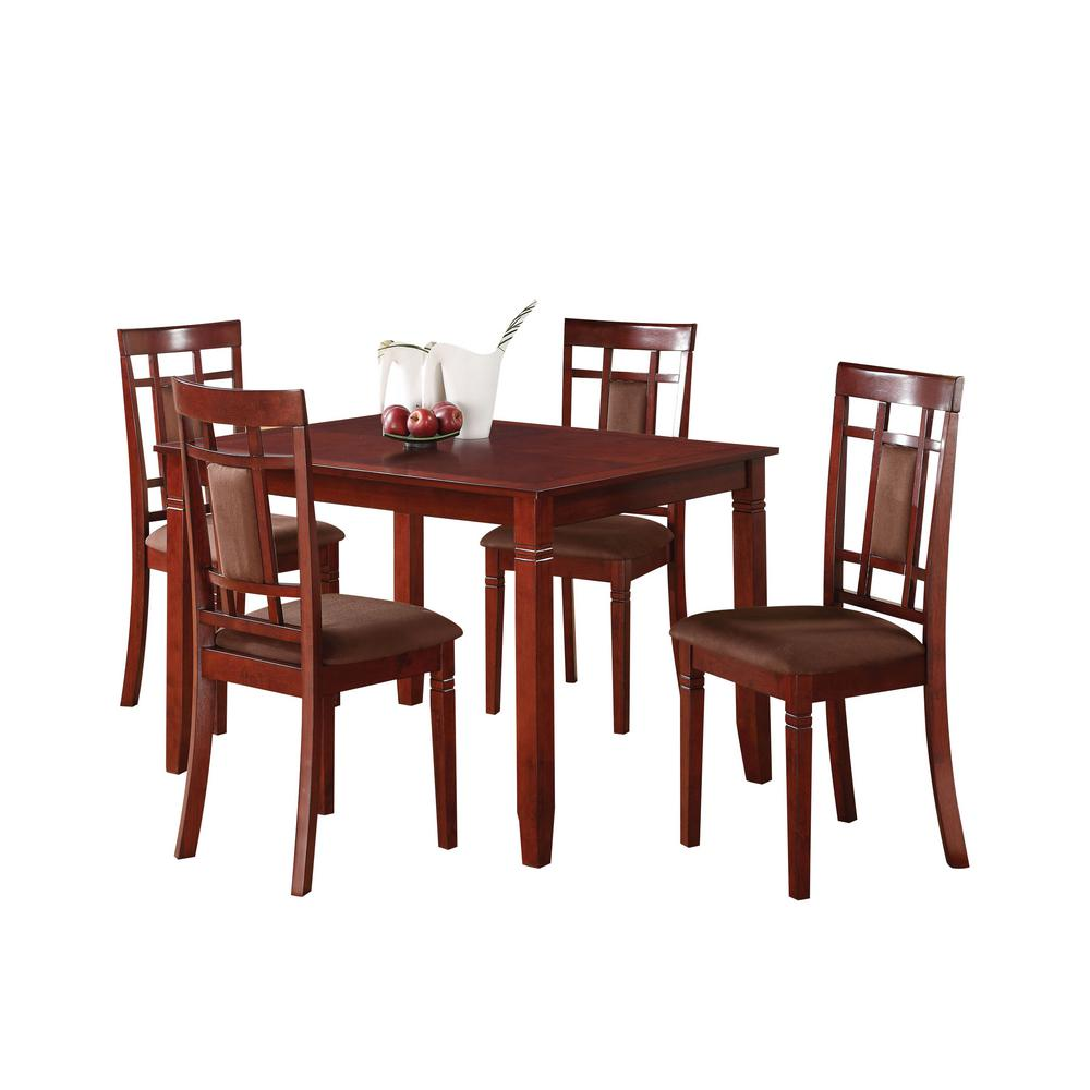 ACME Sonata 5-Piece Cherry Dining Set-71164 - The Home Depot
