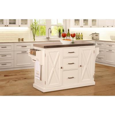 Brigham White Kitchen Island with Stainless Steel Top