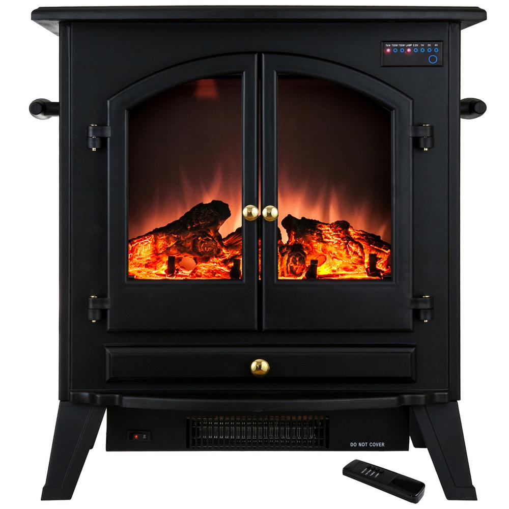 akdy 25 in freestanding electric fireplace stove heater in black