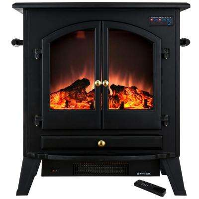 25 in. Freestanding Electric Fireplace Stove Heater in Black with Vintage Glass Door and Remote Control