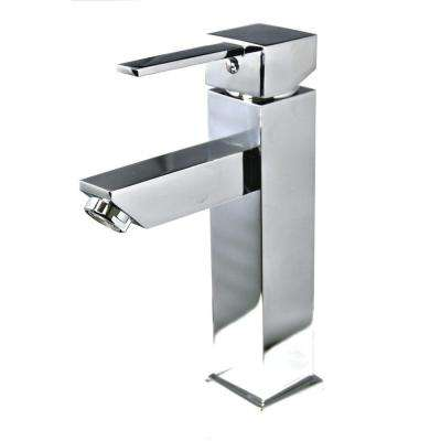 Single Hole 1-Handle Square Bathroom Faucet in Polished Chrome