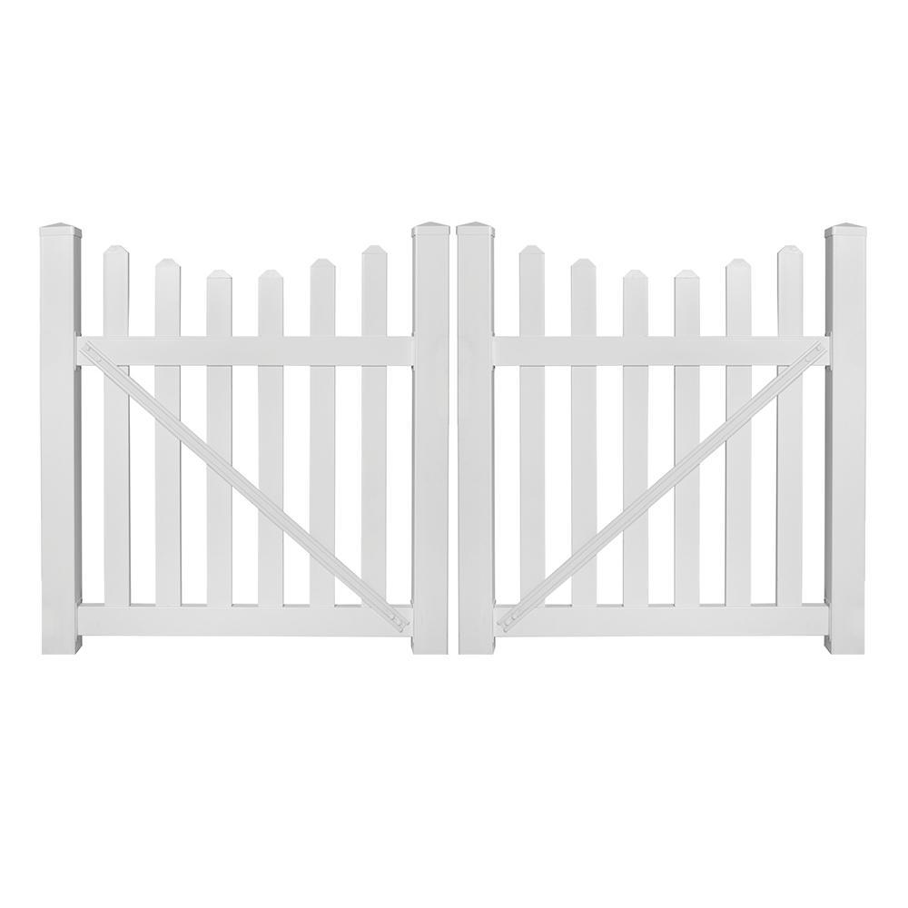 Ellington 8 ft. W x 4 ft. H White Vinyl Picket Fence Double Gate Kit