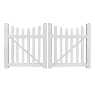 Ellington 10 ft. W x 4 ft. H White Vinyl Picket Fence Double Gate Kit Includes Gate Hardware
