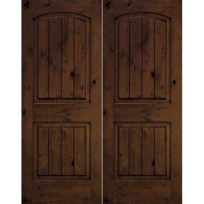 72 in. x 96 in. Rustic Knotty Alder Arch Top Provincial Stain/V-Groove Right-Hand Wood Double Prehung Front Door