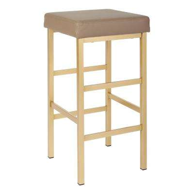 Metro 30 in. Gold Backless Stool in Camel