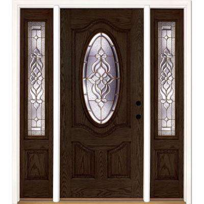 67.5 in.x81.625 in. Lakewood Brass 3/4 Oval Lite Stained Walnut Oak Left-Hand Fiberglass Prehung Front Door w/ Sidelites