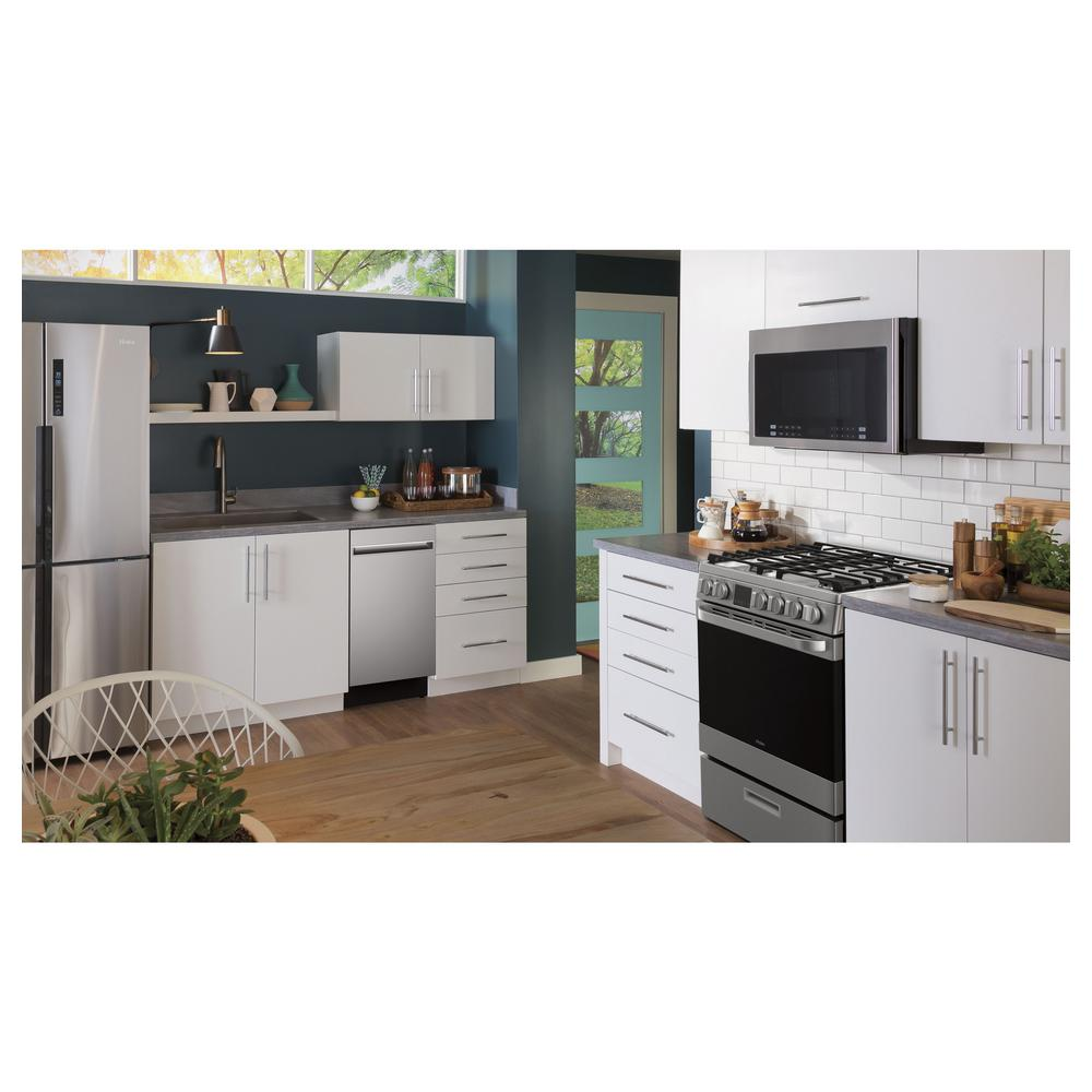 Haier 24 In 1 4 Cu Ft Over The Range Microwave In Stainless Steel Hmv1472bhs The Home Depot