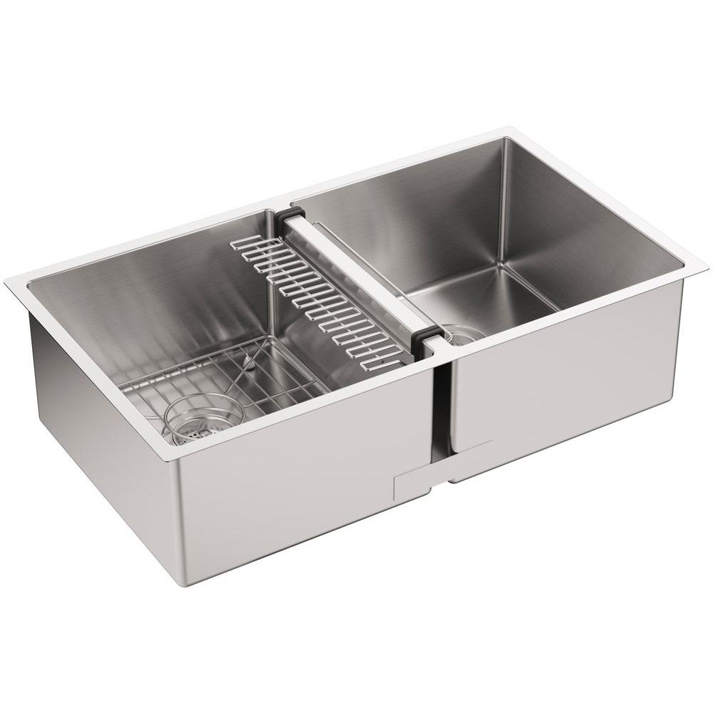 Strive Undermount Stainless Steel 32 In. Double Bowl Kitchen Sink Kit