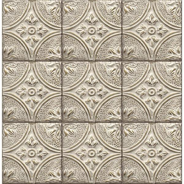 Brerie White Tin Ceiling Tile Wallpaper Sample