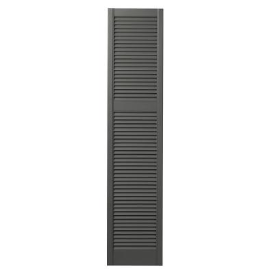 15 in. x 67 in. Cottage Style Open Louvered Polypropylene Shutters Pair in Spanish Moss