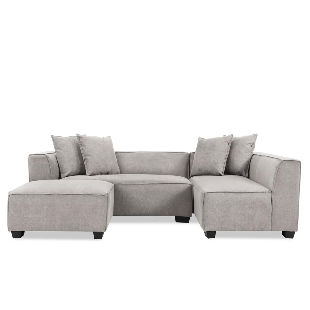 Handy Living Phoenix Sectional Sofa With Ottoman In Light Gray Plush Low Pile Velvet