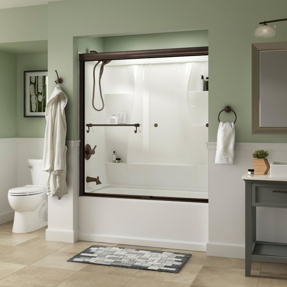 Delta Portman 60 in. x 58-1/8 in. Semi-Frameless Traditional Sliding Bathtub Door in Bronze with Clear Glass was $362.0 now $289.0 (20.0% off)