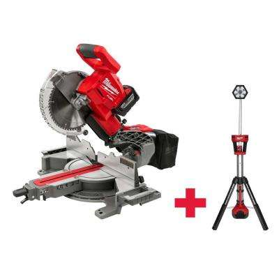 M18 18-Volt FUEL Lithium-Ion Cordless Brushless 10 in. Dual Bevel Sliding Compound Miter Saw Kit W/ Free M18 Stand Light