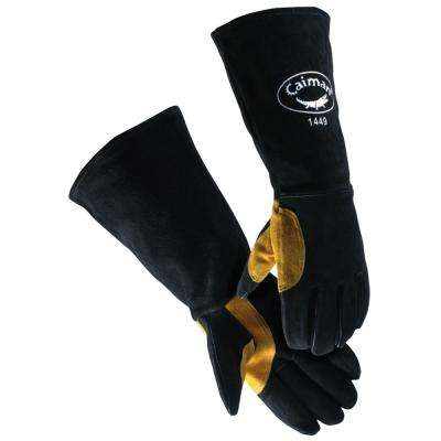 18 in. Black Premium Cowhide Welding Glove Reflective Insulation 1 Size fits All