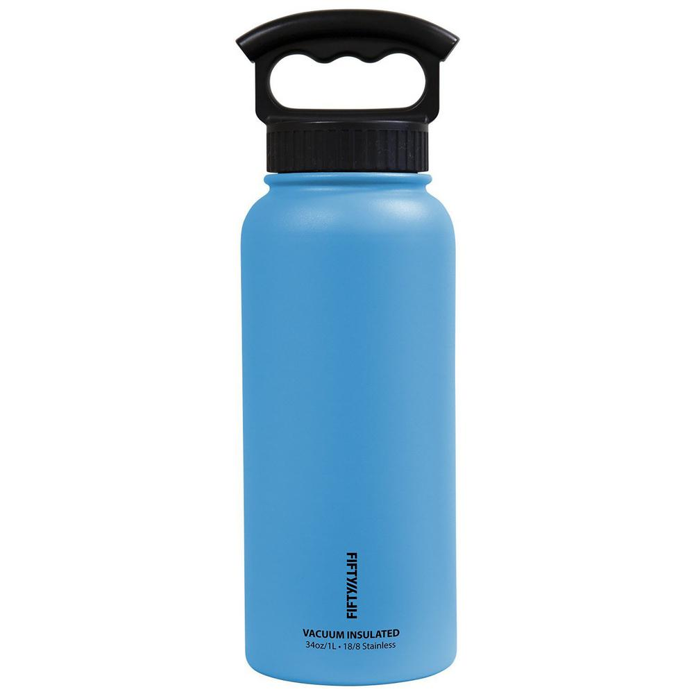 056776a2df8 FIFTY/FIFTY 34 oz. Vacuum-Insulated Bottle with Wide-Mouth 3-Finger Handle  Lid in Crater Blue