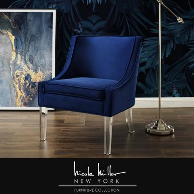 Terrance Navy Velvet Accent Chair with Upholstered Armless