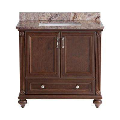 Annakin 36 in. Vanity in Cognac with Stone Effect Vanity Top in Cold Fusion