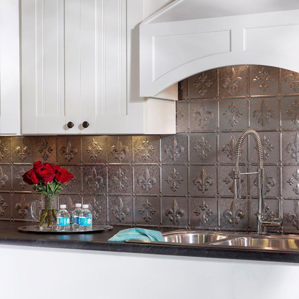 24 in. x 18 in. Fleur de Lis PVC Decorative Tile Backsplash in Galvanized Steel