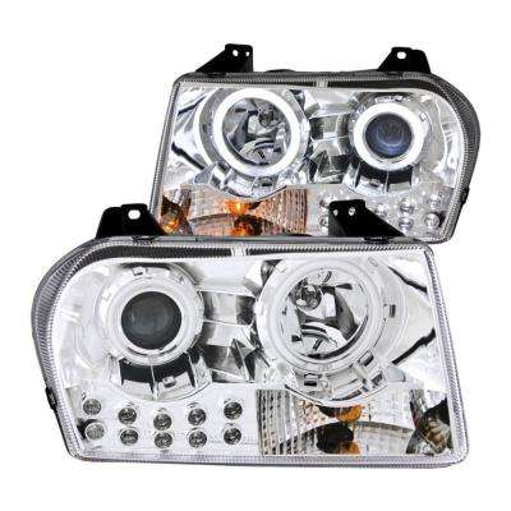 2005-2010 Chrysler 300 Projector Headlights w/ Halo Chrome