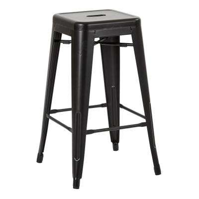 Bristow 26 in. Matte Black Antique Metal Barstool 4-Pack
