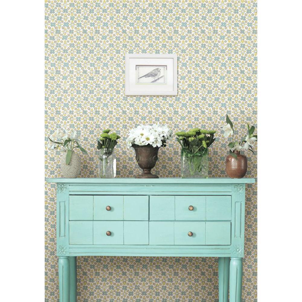 Free Spirit Turquoise Floral Wallpaper Sample