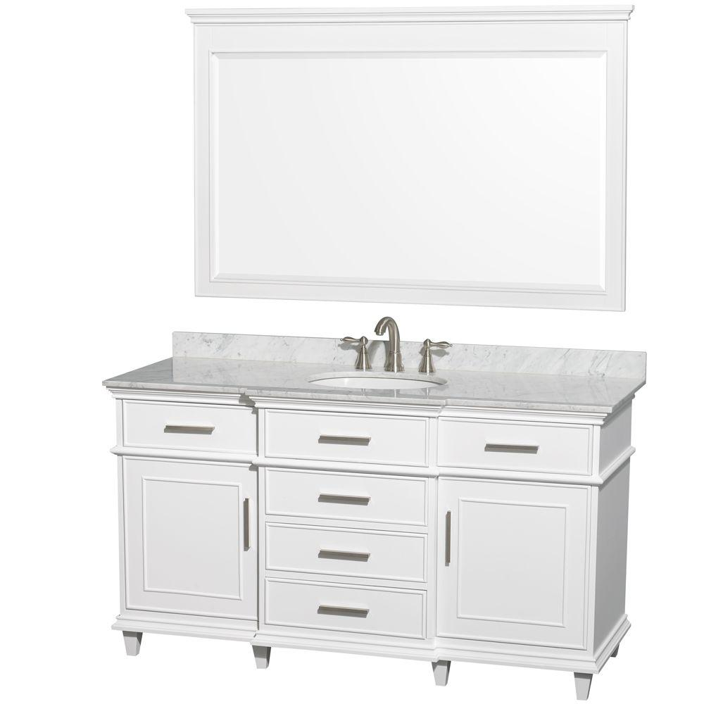 Wyndham Collection Berkeley 60 in. Vanity in White with ...