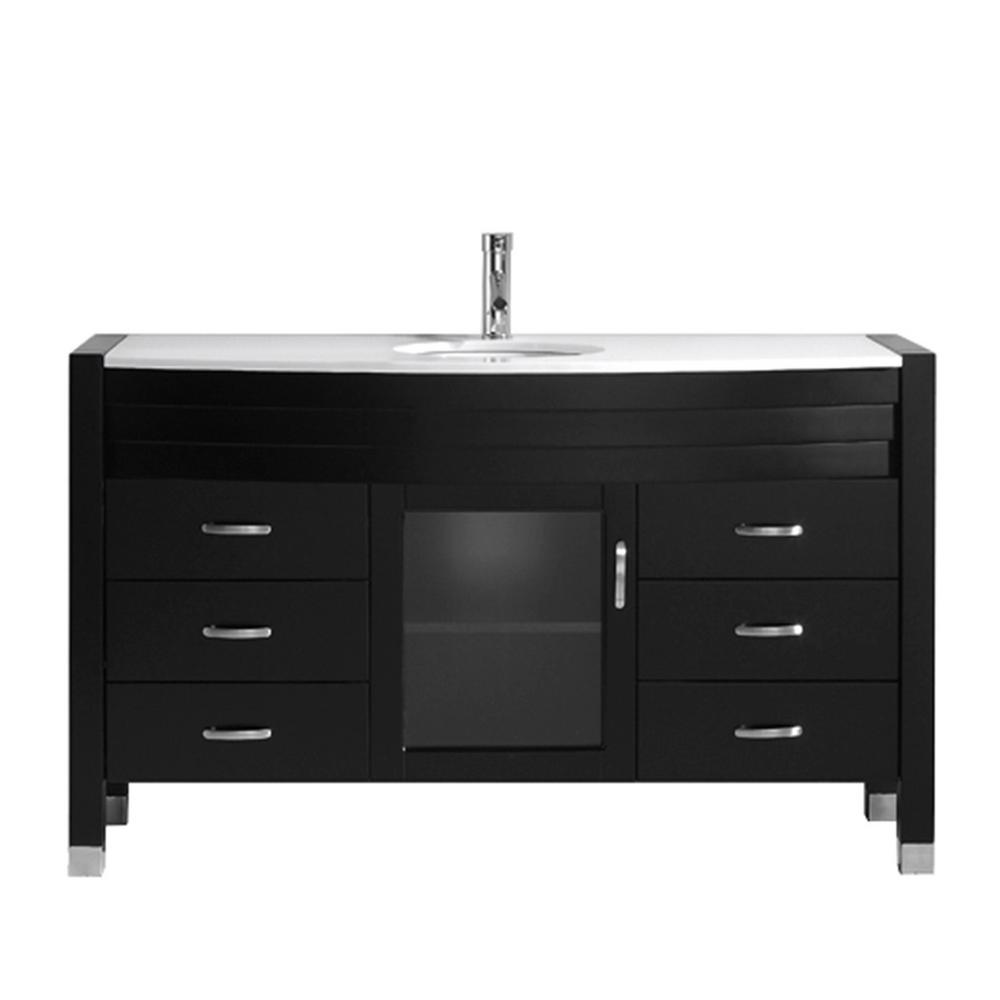 Virtu USA Ava 55 in. W Bath Vanity in Espresso with Stone Vanity Top in White Stone with Round Basin and Faucet