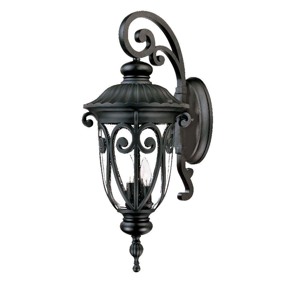Naples Collection 3-Light Matte Black Outdoor Wall-Mount Light Fixture