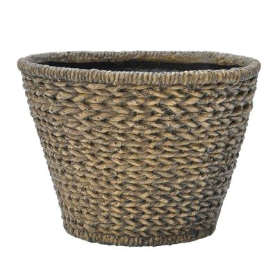 13.5 in. D White Washed Brown Composite Round Nesting Faux Woven Pot