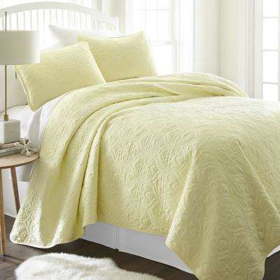 Damask Yellow Queen Performance Quilted Coverlet Set