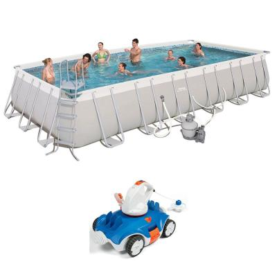 24 ft. x 12 ft. x 52 in. Above Ground Swimming Pool with Cordless Cleaning Robot