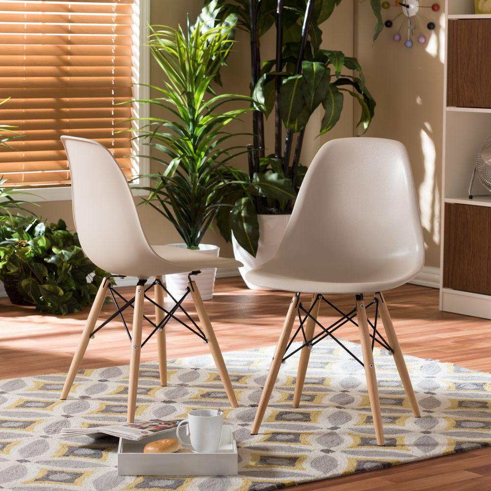 Baxton Studio Azzo Beige Plastic Dining Chairs Set Of 2