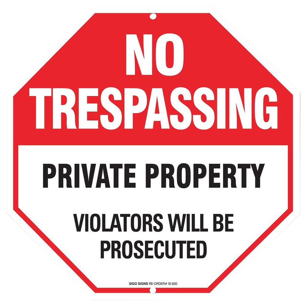 Everbilt 12 in. x 12 in. Aluminum No Trespassing Sign