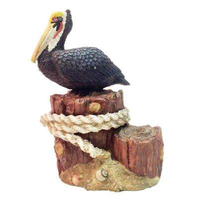 8.5 in. Winter Pelican Sitting on Ocean Pier Pillar with Nautical Rope Beach Statue