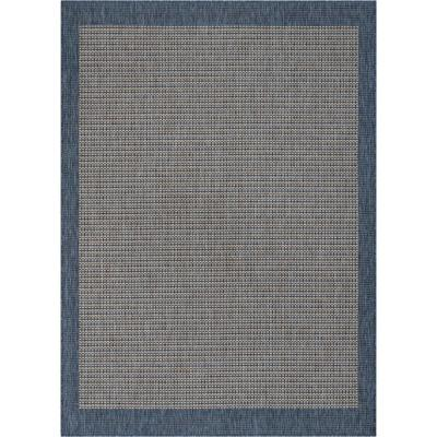 Medusa Odin Blue Solid and Striped Border 5 ft. 3 in. x 7 ft. 3 in. Indoor/Outdoor Area Rug