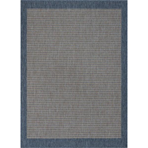 Medusa Odin Blue Solid and Striped Border 7 ft. 10 in. x 9 ft. 10 in. Indoor/Outdoor Area Rug