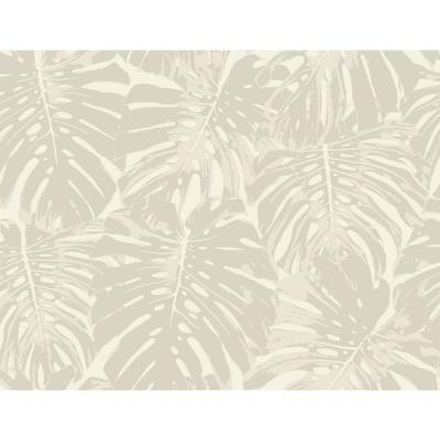 Jamaica Sand and Off-White Tropical Leaf Wallpaper