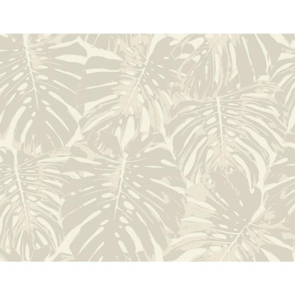 Seabrook Designs Jamaica Sand and Off-White Tropical Leaf Wallpaper