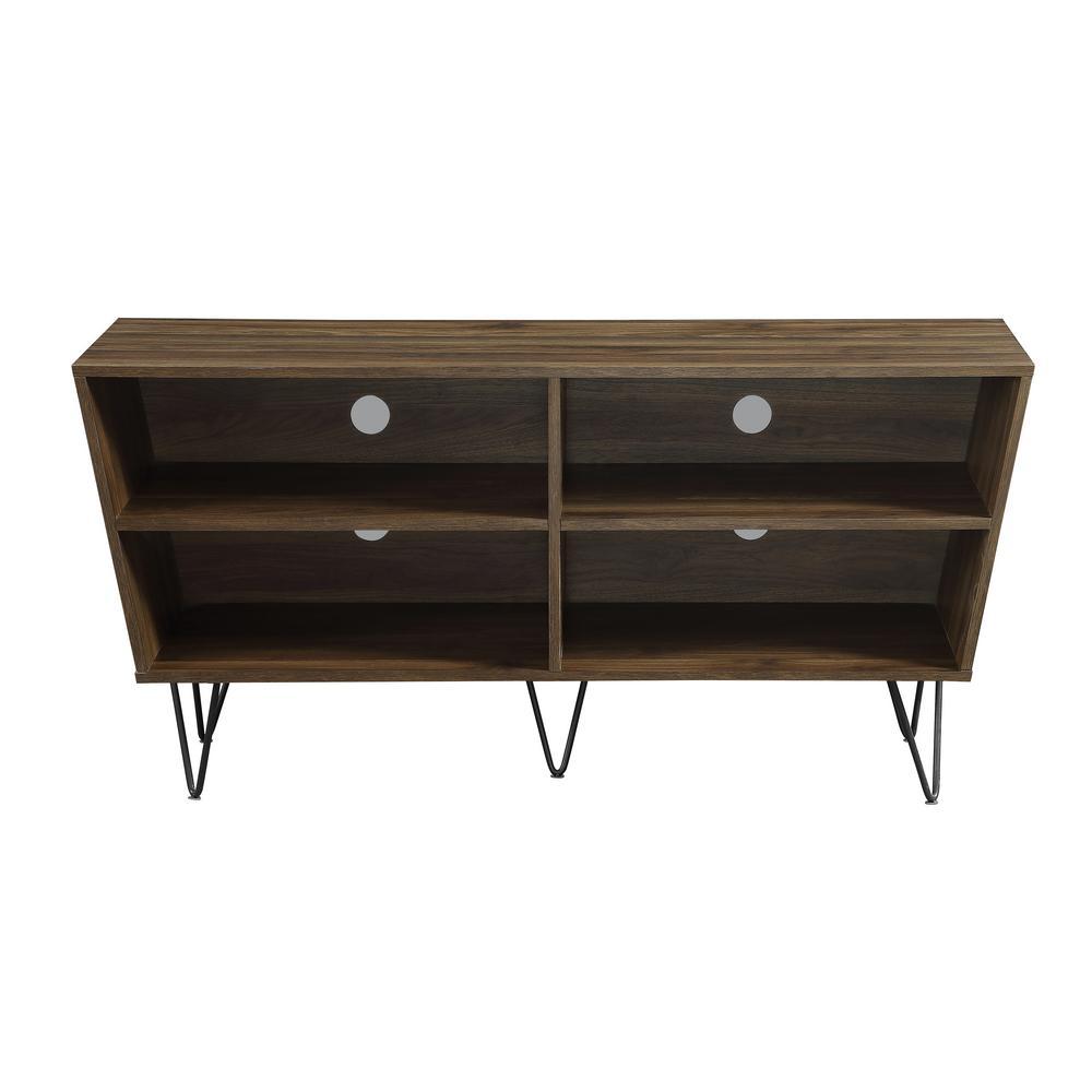 Walker Edison Furniture Company 52 In Dark Walnut Crosby Angled Side Tv Console Hd52crodw The