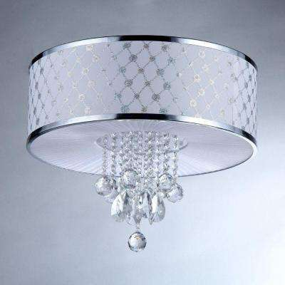 France 5-Light Silver Chrome Crystal Flush-Mount with Fabric Shade