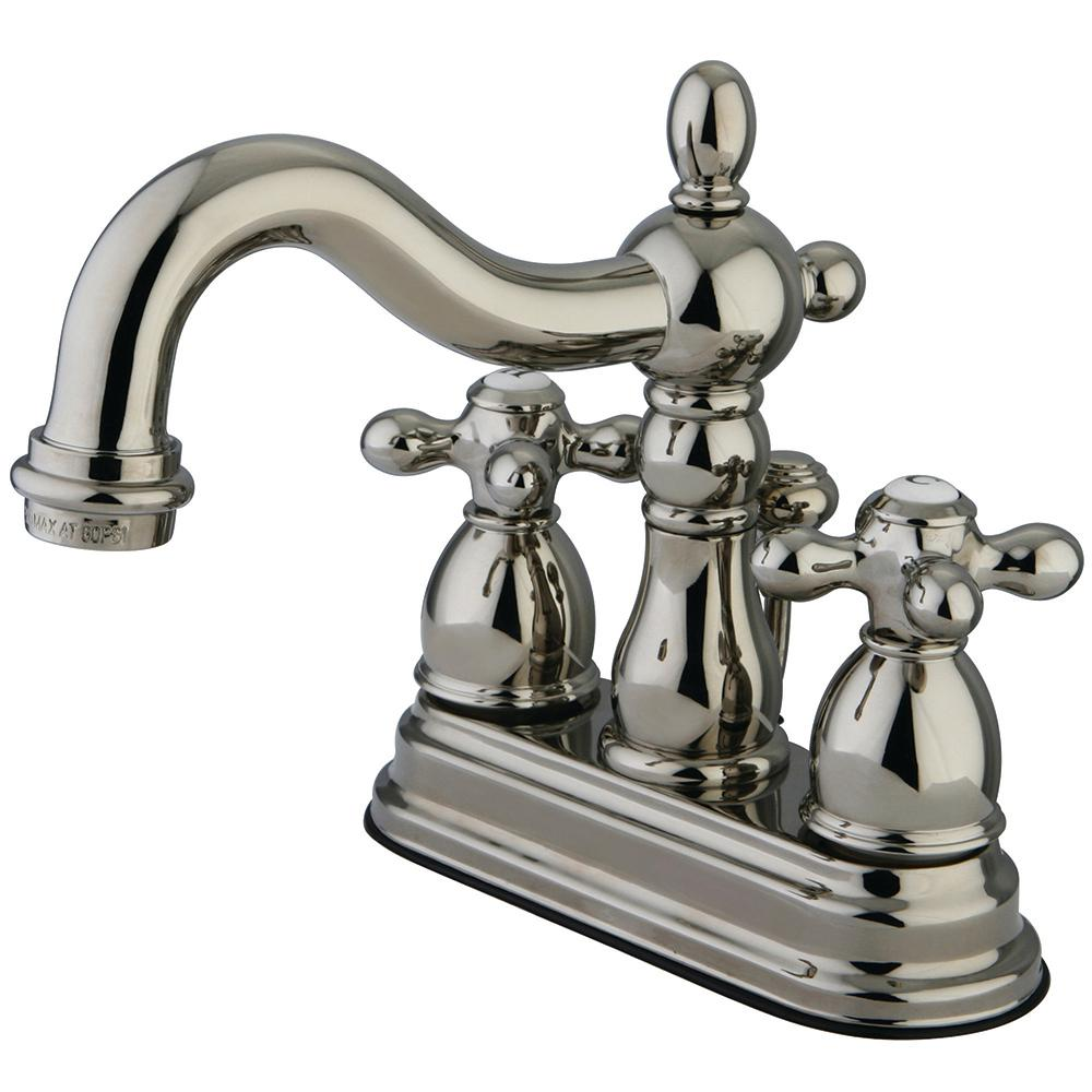 Aqueous Faucet Ballymore Victorian Double Handle Widespread Bathroom Faucet Reviews: Kingston Brass Victorian Cross 4 In. Centerset 2-Handle Bathroom Faucet In Polished Nickel
