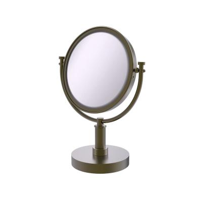 8 in. x 4.8 in. Vanity Top Makeup Mirror 5X Magnification in Antique Brass