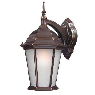 Wall-Mount 15.5 in. Outdoor Old Bronze Lantern with White Glass Shade