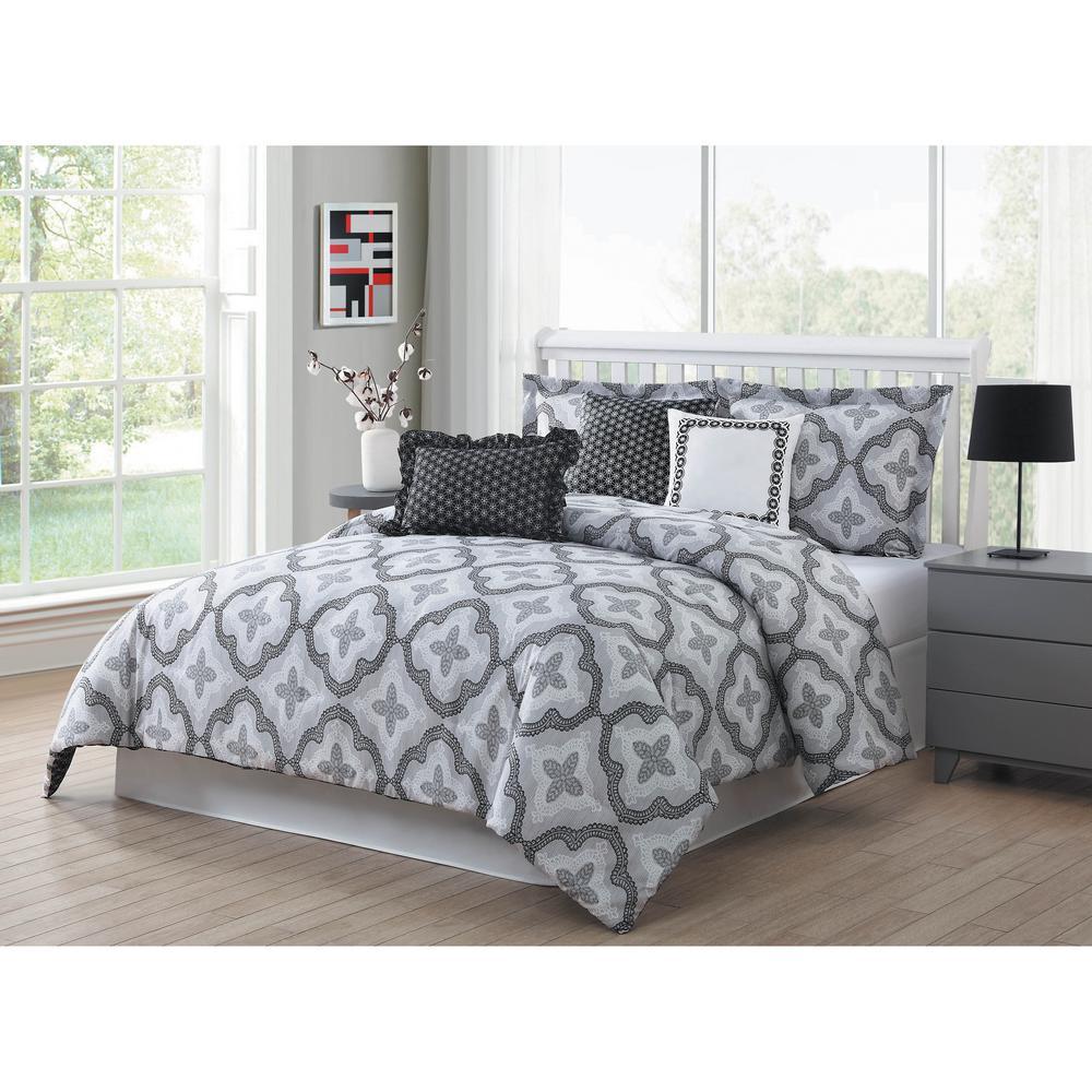 Brussels 7 piece grey white black queen reversible comforter set