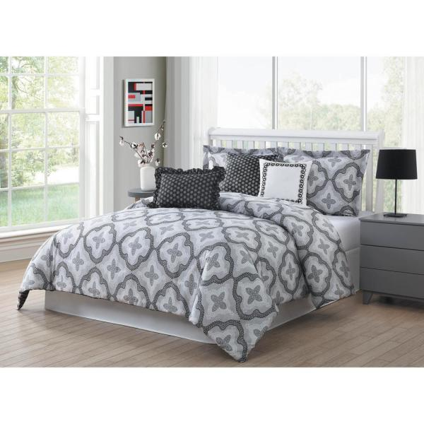 Brussels 7-Piece Grey/White/Black Queen Reversible Comforter Set YMZ008012