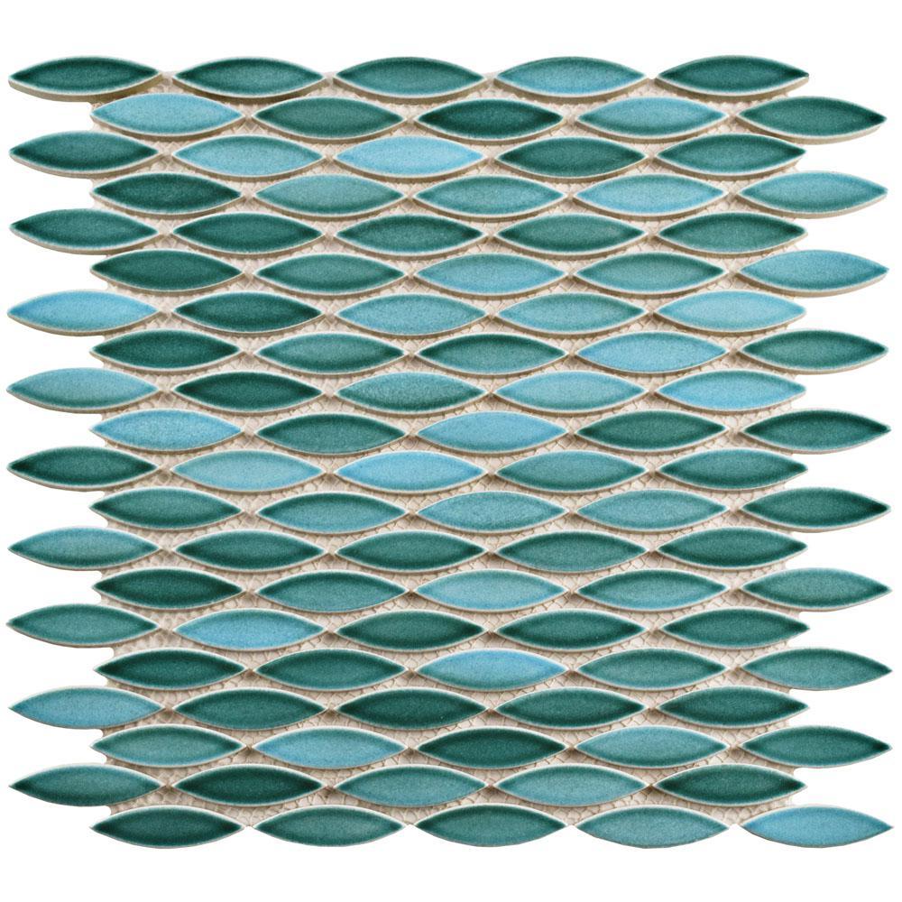 Pescado Glossy Agua Ceramic Mosaic Tile - 6 in. x 6 in. Tile Sample