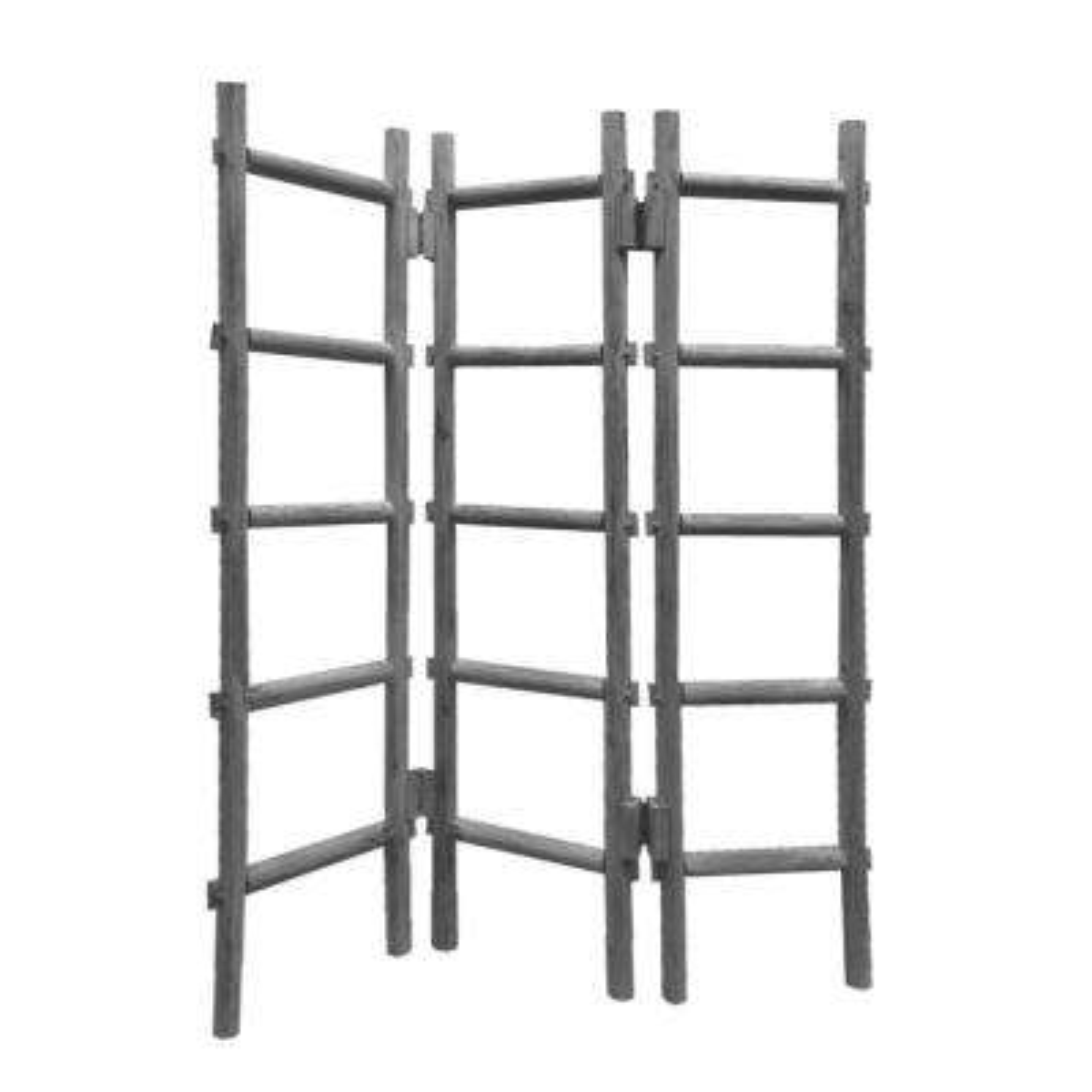 Blanket Rack 5 ft. Gray 3-Panel Room Divider