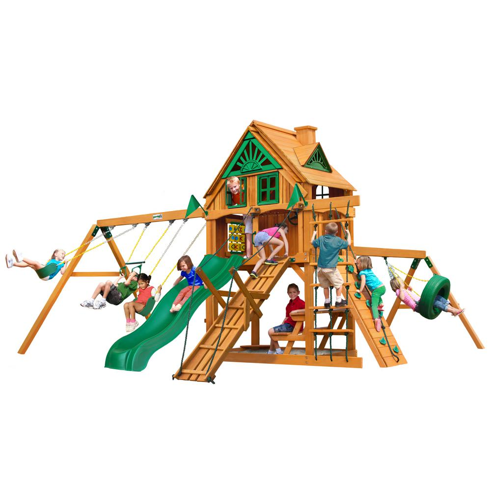 Frontier Treehouse Cedar Swing Set with Fort Add-On and Natural Cedar