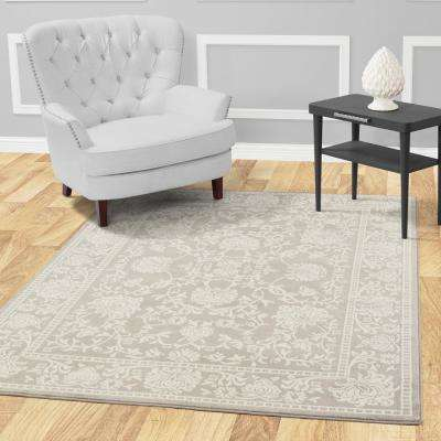 Jasmin Collection Oriental Mahal Design Gray and Ivory 8 ft. x 8 ft. Area Rug