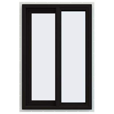 JELD-WEN 24 in. x 36 in. V-4500 Series Black FiniShield Vinyl Left-Handed Sliding Window with Fiberglass Mesh Screen